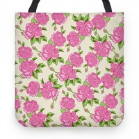 Cream and Pink Floral Pattern (tote)
