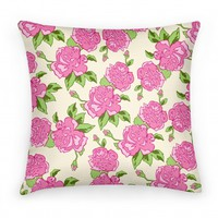 Cream and Pink Floral Pattern (pillow)