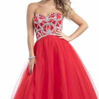 Strapless Soft Tulle Gown by Party Time