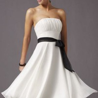 Strapless Chiffon Dress with Ribbon by Affairs by Mori Lee