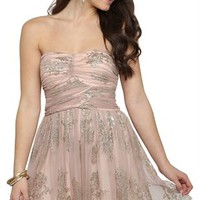 Strapless A-Line Dress with Floral Glitter Mesh and Cross Bodice