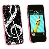 Vintage Treble Clef Music Black - Snap On Hard Protective Case for Apple iPhone 5 5S - Pink