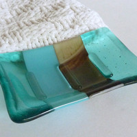 Fused Glass Soap Dish in Aquamarine with Streaky Brown