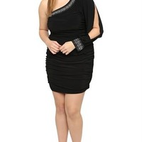 Plus Size One Shoulder Club Dress with Stone Neckline and Split Sleeve