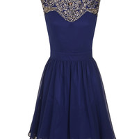 Navy heavily embellished dress