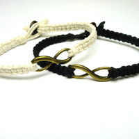 Infinity Bracelet Set, Black and White Macrame Hemp Jewelry, Couples or Friendship Bracelet