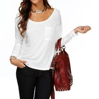 Ivory Semi Sheer Basic Top