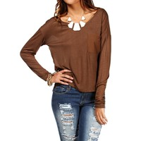 Light Brown Semi Sheer Basic Top