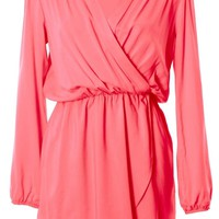 Coral Long Sleeve Wrap Dress