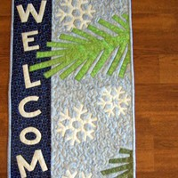 Blue Winter Welcome Wall Hanging with Snowflakes and Pine Needles