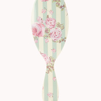 Striped Floral Paddle Brush