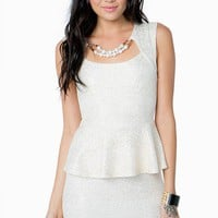 Pearl Foil Peplum Dress