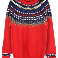 ROMWE | ROMWE Exotic Kintted Red Casual Jumper, The Latest Street Fashion