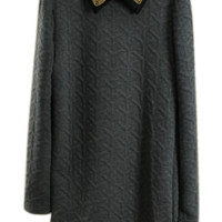 ROMWE | ROMWE Dual-tone Rhombus Beaded Grey Dress, The Latest Street Fashion