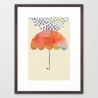 Rainbow Umbrella Framed Art Print by Kanika Mathur