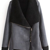 ROMWE | ROMWE Oblique Zippered Asymmetric Black Coat, The Latest Street Fashion