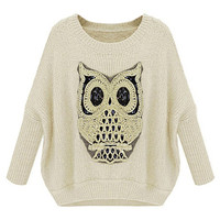 ROMWE | ROMWE Owl Knitted Batwing Sleeves White Jumper, The Latest Street Fashion