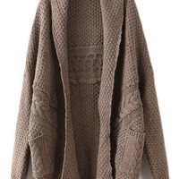 ROMWE | ROMWE Twisted Buttonless Dark-coffee Cardigan, The Latest Street Fashion