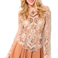 Long Sleeve Sheer Beaded Top