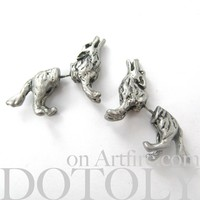 3D Fake Gauge Realistic Wolf Dog Animal Stud Earrings in Silver