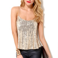 Sequined Spaghetti Strapped Halter in Gold