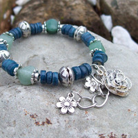 New ~~ Flower Charmed Green Aventurine and Blue Rivershell Beaded Bracelet