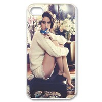 PC-Beauty Singer-songwriter-Lana Del Rey White Print Hard Shell Cover Case for iPhone 4/4S