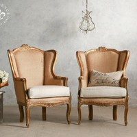 Romantic Pair of Vintage Louis XV Wing Bergere Chairs