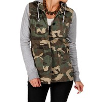 Camo Knit Sleeves Jacket