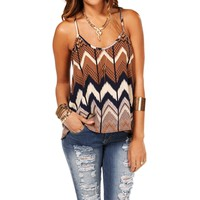 SALE-NavyMocha Open Back Chevron Tank