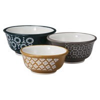 Threshold™ Stoneware Geo Print 3 Piece Mini Bowl Set