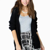 Stud Shoulder Slouchy Button Front Sweater