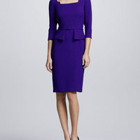 3/4-Sleeve Belted Peplum Dress