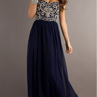 Cheap A line Navy Blue Sweetheart Chiffon Floor Length Long Prom Dress, Long Evening Dresses, Formal Dresses