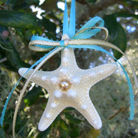 Starfish-Beach Coastal Holiday Christmas Ornament-Beach Weddings, Unique Gift Idea, Beach Lover, Beach Home Decor, Tiffany Blue