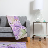 Lisa Argyropoulos Lavender Peonies Fleece Throw Blanket