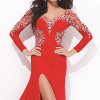 Embellished V Neckline Jersey Gown by Tony Bowls Collections