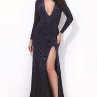 Beaded V Necklines Jersey Gown by Tony Bowls Collections