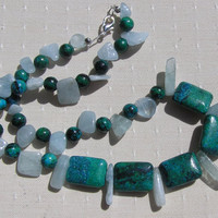 "Aquamarine & Chrysocolla Crystal Gemstone Necklace - ""Tropical Paradise"" - Special Offer"