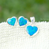 October birthstone,Opal Earrings,opal pendant,Heart Opal Earrings,Sterling Silver,Heart earrings