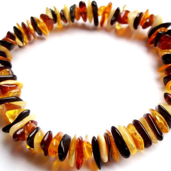 Genuine Baltic Amber Bracelet 7.1 inches. Multicolor Beads .