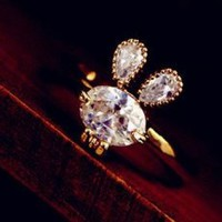 Bunny And Bow Tie Rhinestone Ring