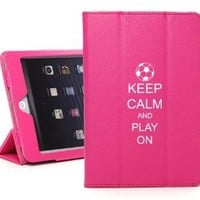 Apple iPad Mini Hot Pink Faux Leather Magnetic Smart Case Cover LM420 Keep Calm and Play on Soccer