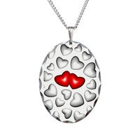 3D Love Red Hearts Necklace