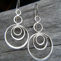 Silver Wire Earrings (Reflective Rings)