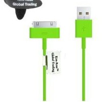 Kim Rose Global Trading 10' Ft Extension USB Sync Cable Power Cord Charger Supports Iphone 4s 4 3gs Ipad 1 2 3, Ipod with Free Tie (Green)