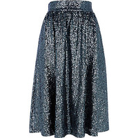 GREEN SEQUIN A LINE MIDI SKIRT