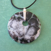 Black and White Necklace, Statement Pendant, Fused Glass Jewelry - Rosilie - 4593 -3