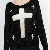 Black Cross Sweater
