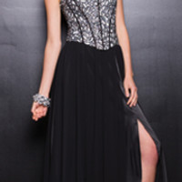 2014 Prom Dresses - Black Strapless Corset Prom Dress